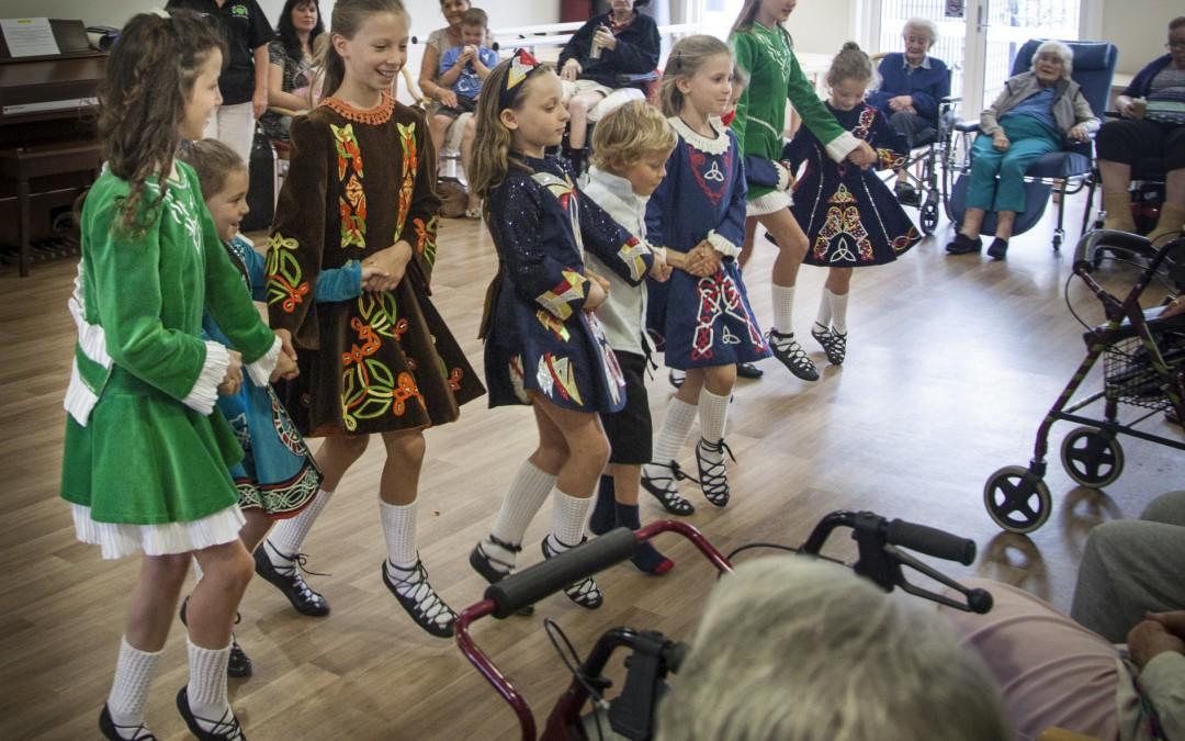 Irish Dancers entertain residents at Aurrum Healesville for St. Patrick's Day